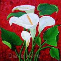 Lilies 30cm x 30 cm oil